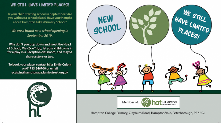 Is your child starting school in September? Are you without a school place? Have you thought about Hampton Lakes Primary School?